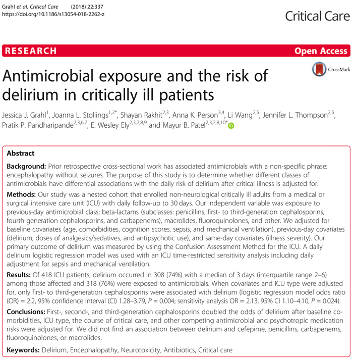 Exposure To Antimicrobials During >> Pulmcrit Rant Antimicrobial Exposure And Risk Of Delirium