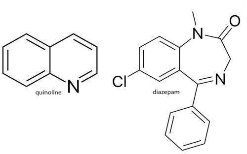 Figure 20. Public domain.[https://en.wikipedia.org/wiki/Diazepam#/media/File:Diazepam_structure.svg], [https://en.wikipedia.org/wiki/Quinoline#/media/File:Quinoline_chemical_structure.svg]