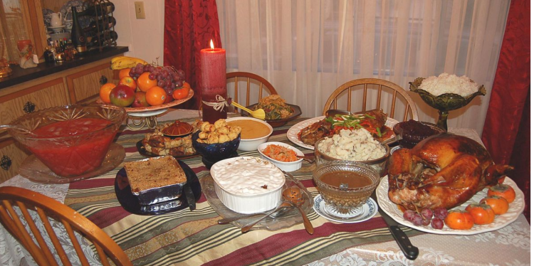 Figure 27. A Thanksgiving meal. [https://commons.wikimedia.org/wiki/File:Our_(Almost_Traditional)_Thanksgiving_Dinner.jpg]