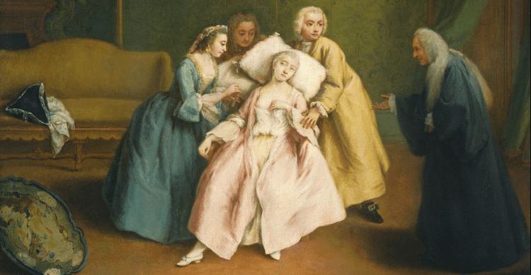 Fainting, by Pietro Longhi, 1744.  Public domain. [https://commons.wikimedia.org/wiki/File:Pietro_Longhi_027.jpg]
