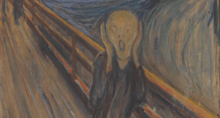 [The Scream, by Edvard Munch](https://commons.wikimedia.org/wiki/File:Edvard_Munch,_1893,_The_Scream,_oil,_tempera_and_pastel_on_cardboard,_91_x_73_cm,_National_Gallery_of_Norway.jpg), 1893. Public Domain from wikimedia.org