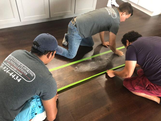 Spot fixing hardwood flooring