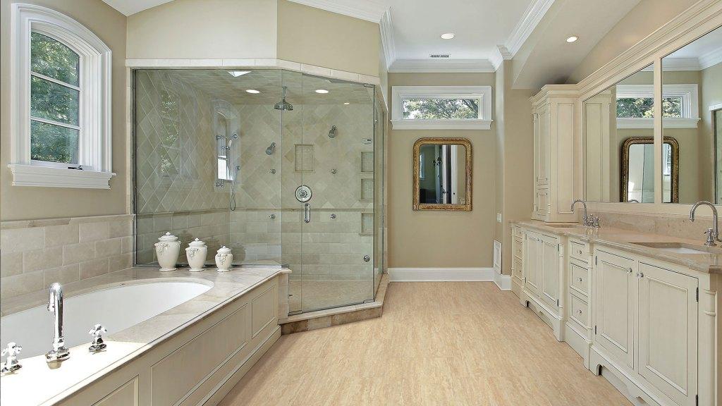 vinyl flooring installed in luxury bathroom