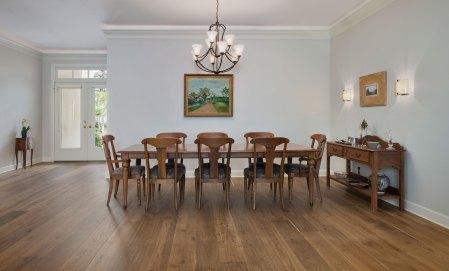 hardwood flooring installation in dining room
