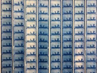 Emelien Dieleman, experiment lll (Mevrouw in boom), 2017, 120 x 200 cm cyanotype op papier