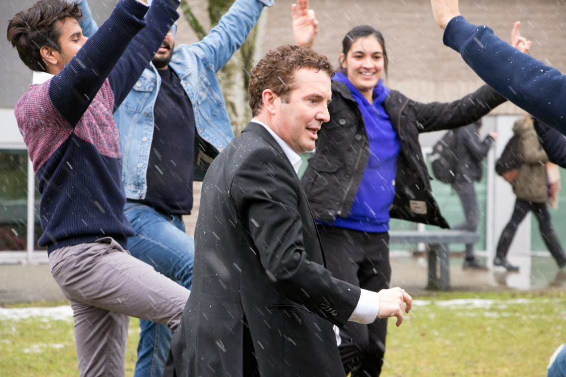 Rick Mercer is traveling to schools and post-secondary institutions across the country who've donated money to Spread the Net, whose aim is to provide mosquito nets to people in developing countries. EMELIE PEACOCK.