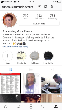 instagram profile with dots at the top