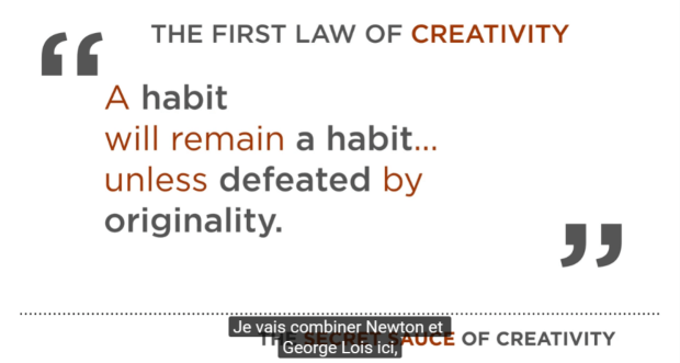 The first law of creativity
