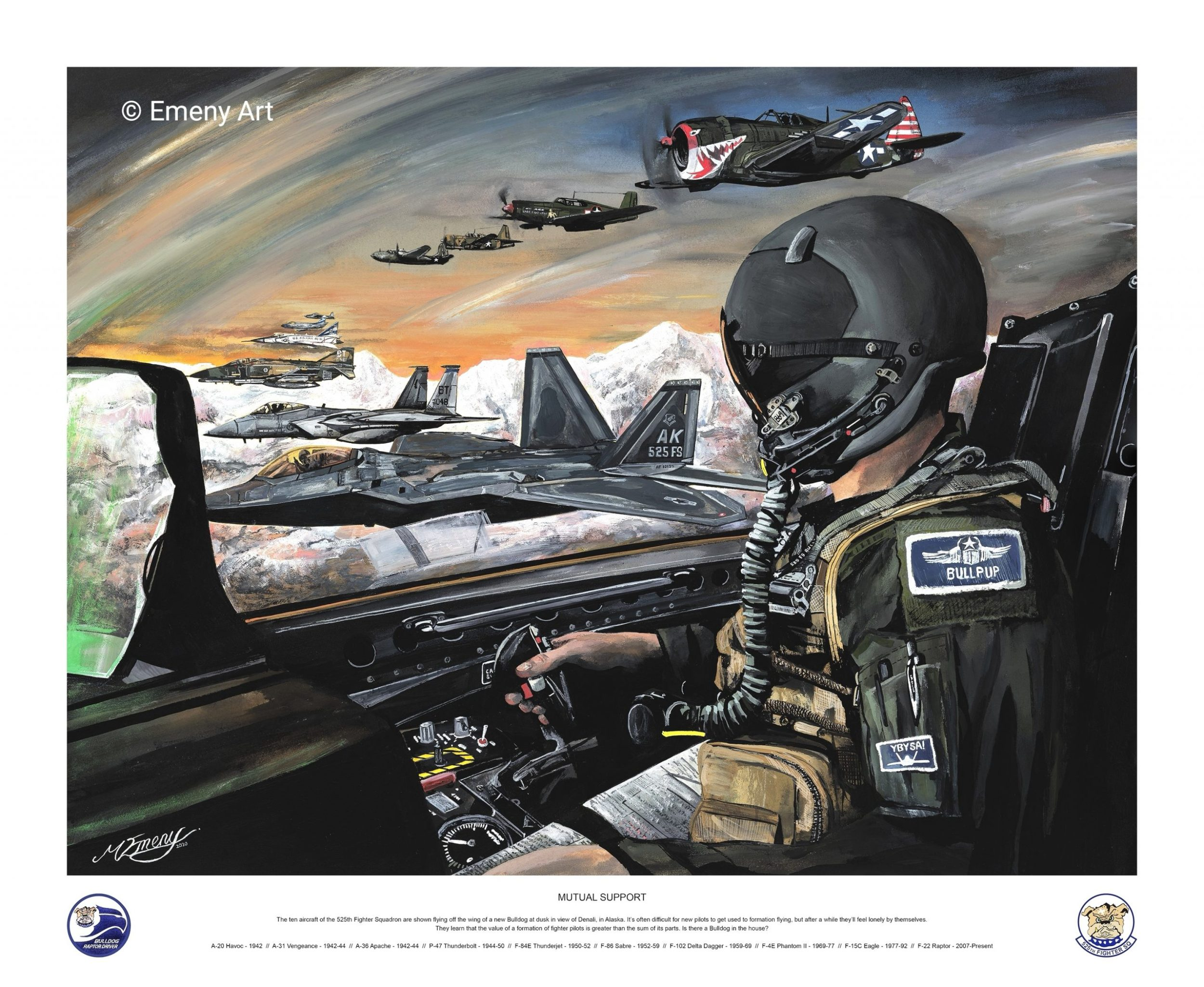 Aviation art prints featuring the ten aircraft of the 525th Fighter Squadron flying off the wing of a new Bulldog at dusk in Alaska