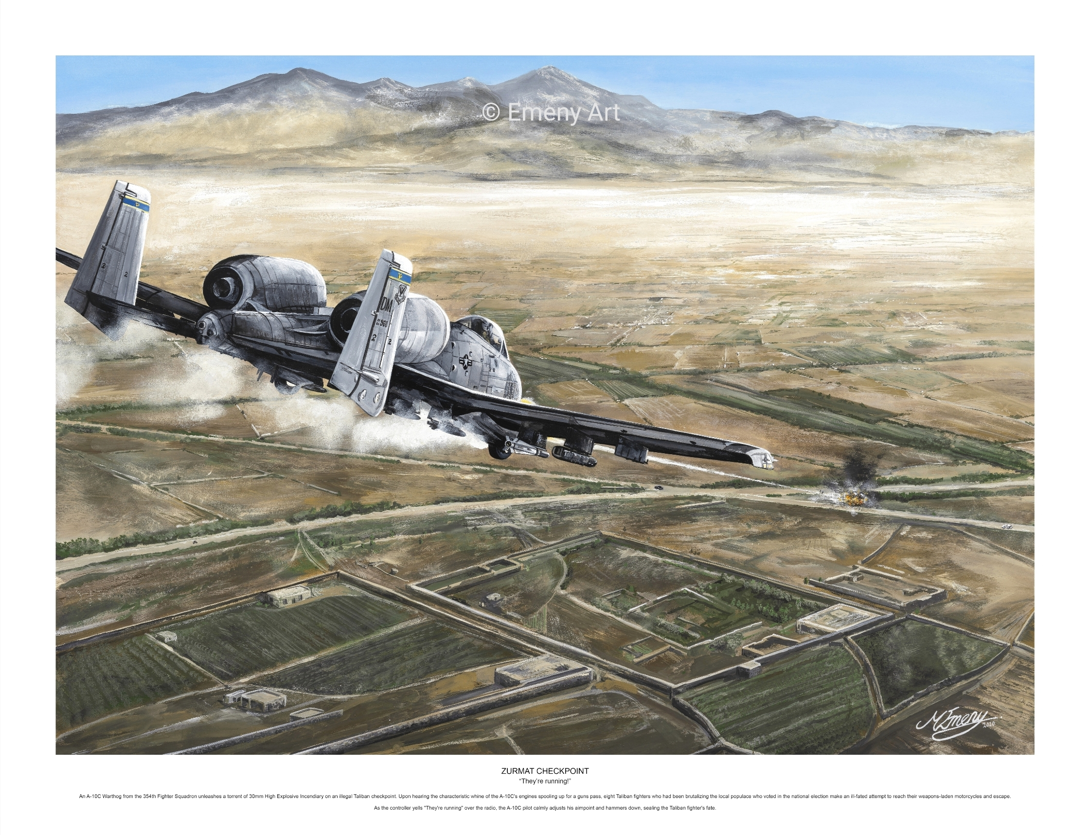 Aviation art prints featuring an A-10C Warthog from the 354th Fighter Squadron engaging the Taliban. High quality aviation gifts
