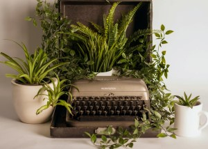 An old Remington typewriter sits in it's case overgrown with plants and greenery.