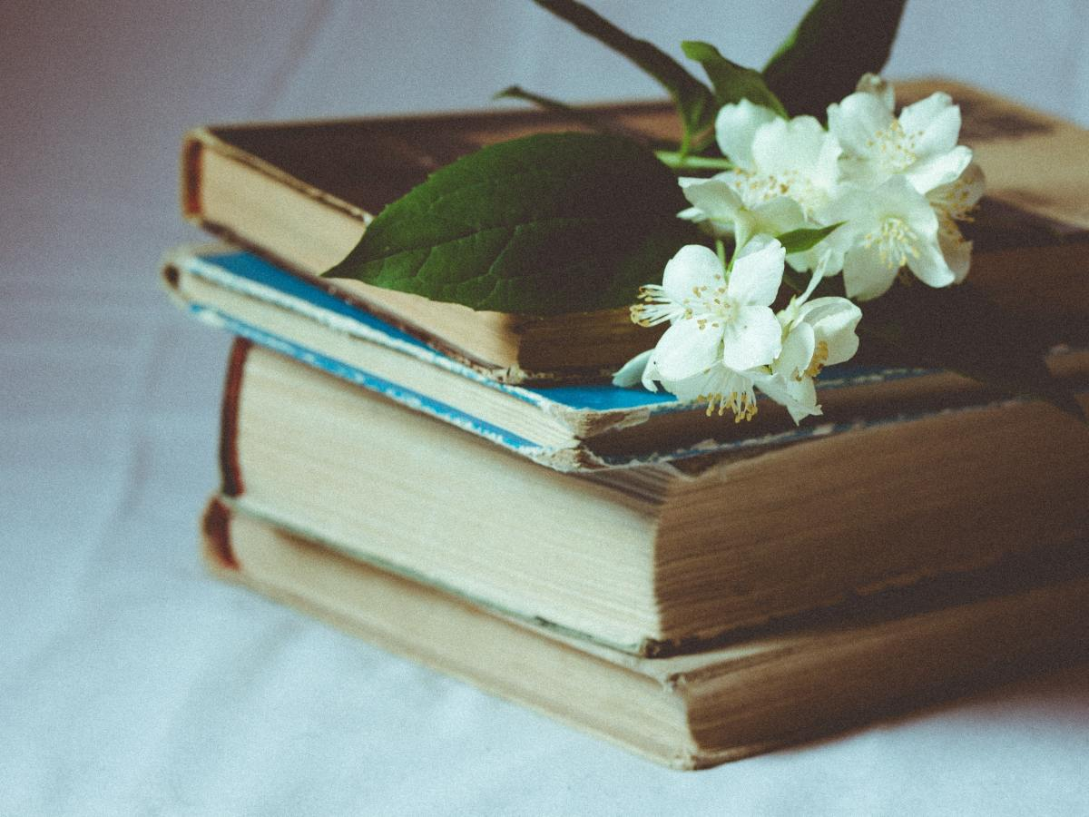 A stack of tired looking vintage books stand on a white backdrop. A white flower draped across them.
