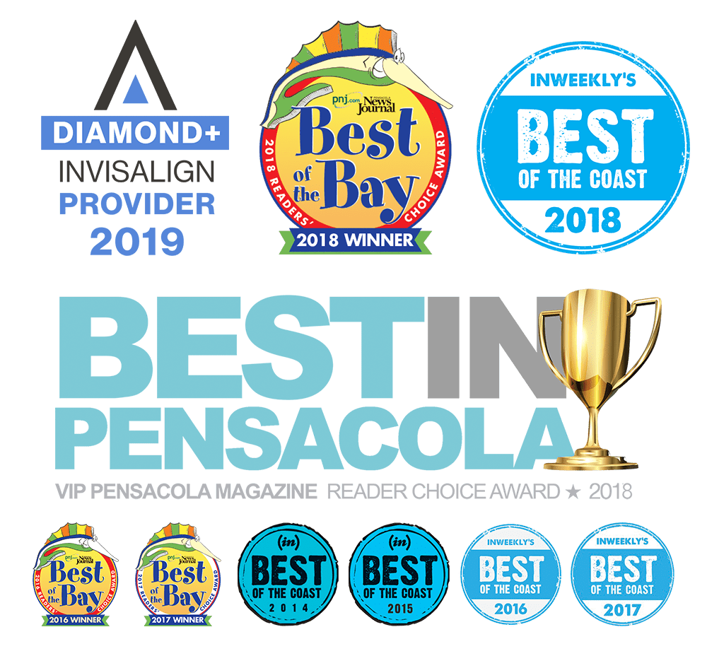 Fishbein Orthodontics distinctions, Best in Pensacola, Best of the Coast, Best in the Bay, Diamond Invisalign Provider