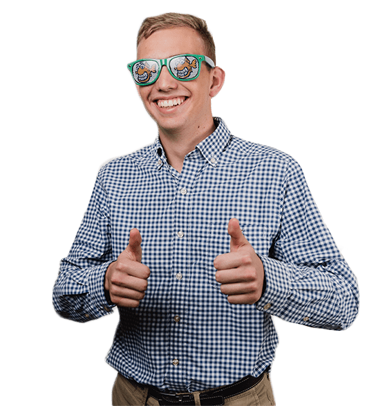 Young teenage boy, smiling, thumbs up, wearing blue sunglasses, checkered blue shirt, Fishbein Orthodontics