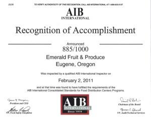 AIB 2011 Certification
