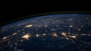 satellite image of the earth's surface showing lighted up areas