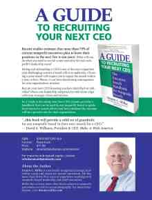 Sales Sheet for A Guide to Recruiting Your Next CEO