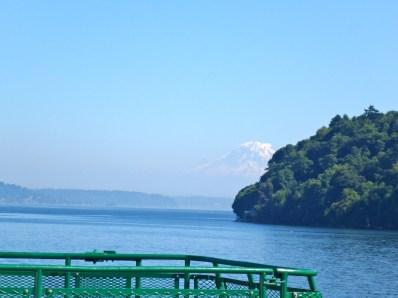 Mount Rainier looms as the ferry approaches Vashon Island