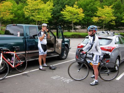 Mike Hatzakis (left), another High Performance Cycling member, joined the ride. John Kay (left) ready to go.