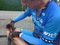 patching the tire (we later stopped in Fort Langley for a new one) ...