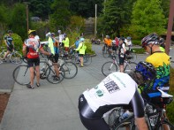 Riders gather at the start.