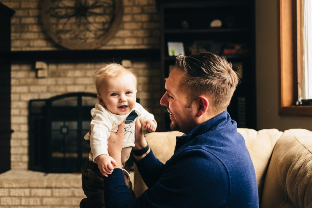 Father with 9 month old son