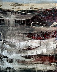 """Tangie Pape Belmore - Concrete & Silk Drizzling, Acrylic & Mixed Media, 48"""" x 60"""""""