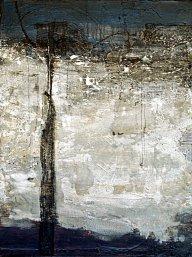 "Tangie Pape Belmore - Concrete & Silk: Bridge, Acrylic & Mixed Media, 48"" x 60"""