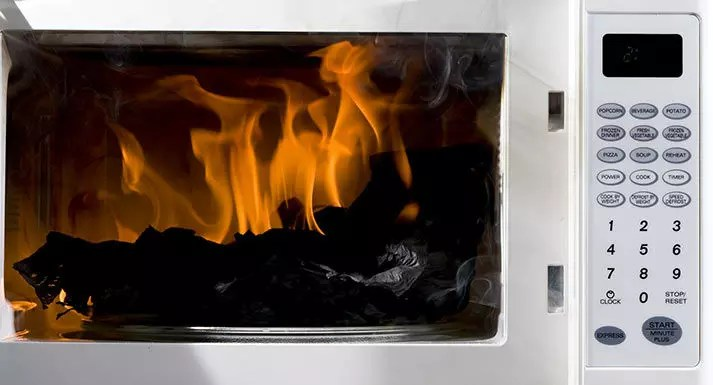 fire damage in microwave oven