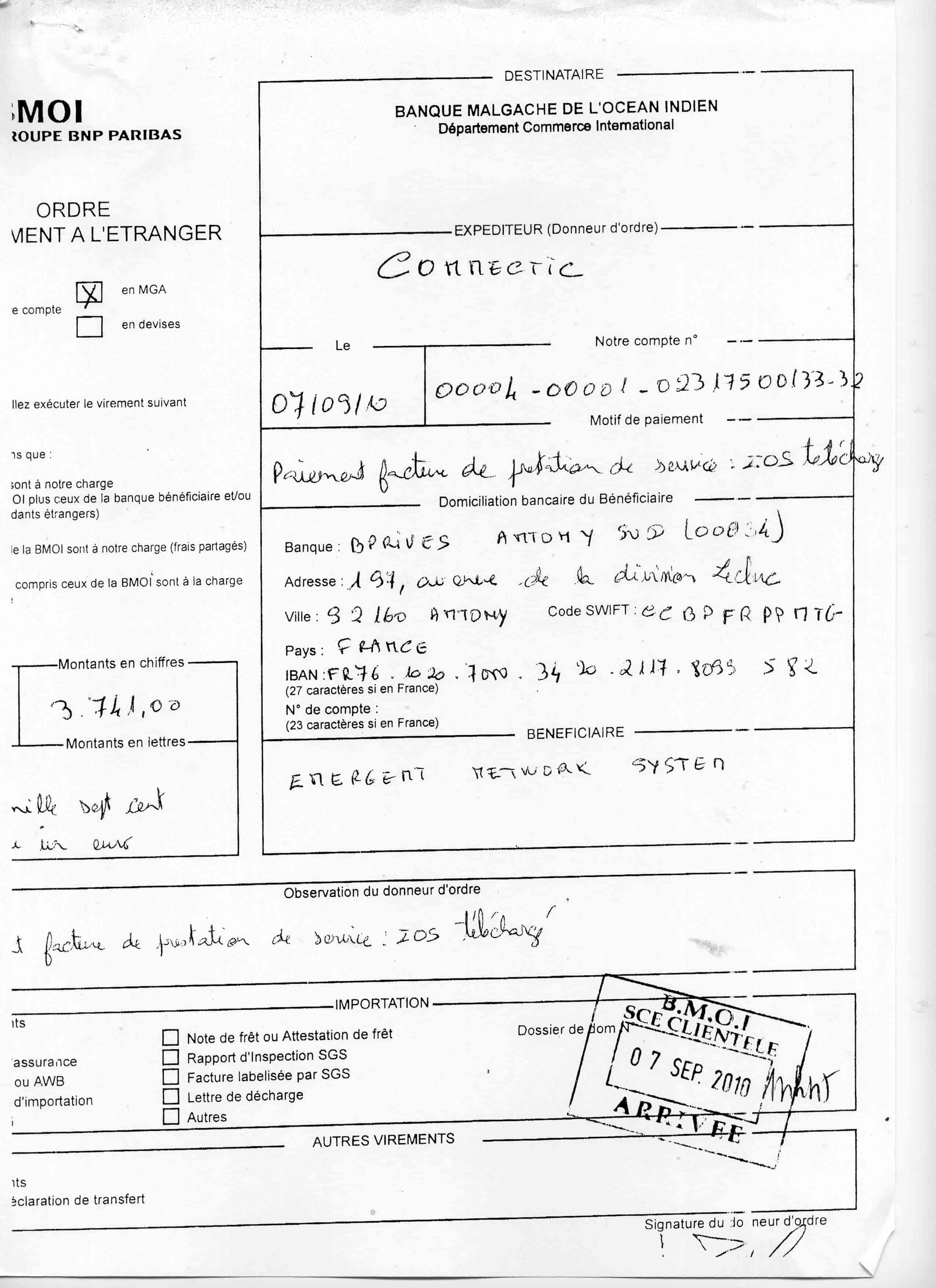 RANARISON Tsialvo a signé tous les virements bancaires de CONNECTIC