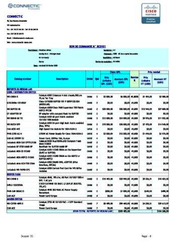 Bon de commande de CONNECTIC à la société WESTCON du 20 février 2009_Page8