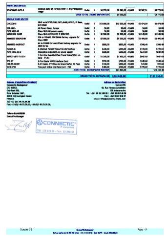 Bon de commande de CONNECTIC à la société WESTCON du 20 février 2009_Page9