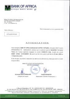 RANARISON Tsilavo est le seul signataire des comptes BOA de CONNECTIC