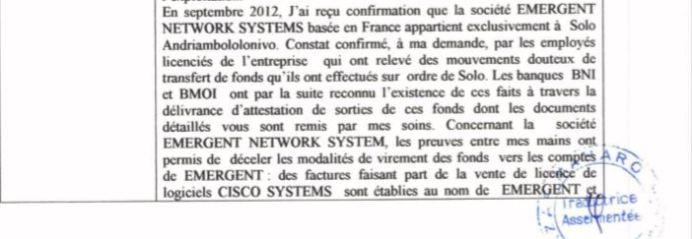 RANARISON Tsilavo dit à la police qu'il n'est au courant des virements qu'en septembre 2012