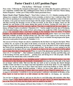 Chuck Smith's Final Position Paper; dated Oct. 15, 2012