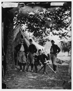 A photograph of William Woods Averell taken during the Peninsula Campaign. Averell is the officer seated. Courtesy of the Library of Congress.
