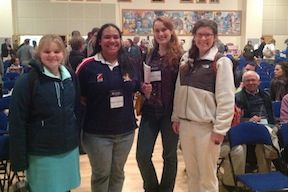 Becky Oakes (on the left) with Gettysburg College classmates