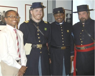 Pictured at the Fredericksburg Area Museum, from left to right Emmanuel Dabney, Petersburg Battlefield NBP, Lt. Jimmy Price, Cpl. Steward Henderson and Captain John Cummings—May 2011