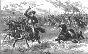 Custer and the 1st Maine Cavalry at Aldie. Sketch by Alfred Waud from A Complete Life of General George Custer.