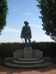 Monument near the house site.