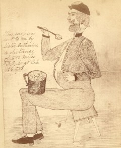 Sketch, presumably self drawn after the war, of Sgt. Francis Cordrey (Courtesy of the Allen County Public Library)