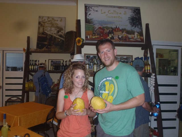 "My wife, Adel and I with some of Italy's lemons.  What would ""Stonewall"" have thought about these lemons?"