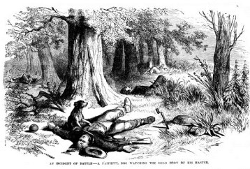 'An Incident of Battle -- A Faithful Dog Watching the Dead Body of His Master' - Frank Leslie's Illustrated Newspaper