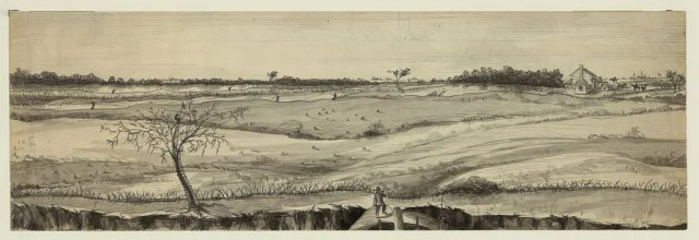 Appearance of the Union and Rebel lines at the Front, from the Parapet of Fort Fisher, Mar. 28. Library of Congress.