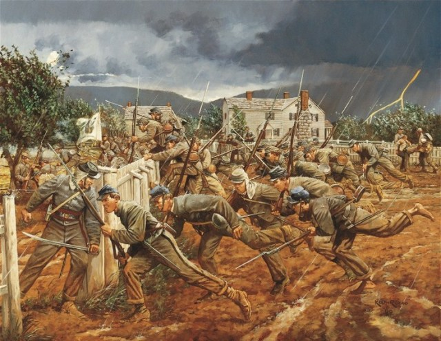 One artist's depiction of the VMI cadets' charge at New Market