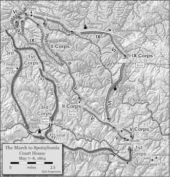 Burnside's march brought him to the Spotsy battlefield on May 9, 1864. (Map by Hal Jespersen)
