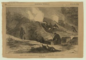 A VI Corps battery in action on June 1, 1864 at Cold Harbor. Courtesy of the Library of Congress.