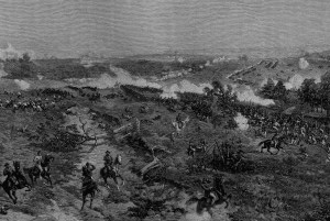 "The fighting atop Bald Hill, July 22, 1864, as depicted in Volume 4 of the popular ""Battles and Leaders of the Civil War"""