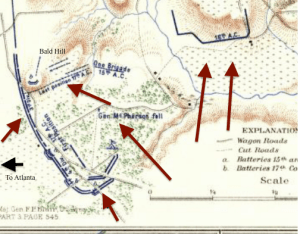 "An inset from a map from the ""Official Records Atlas,"" showing the Union trenches on July 22. Force's brigade was located on the center of Bald Hill. I have adapted the map by adding the red arrows indicating Confederate attacks; the arrows do not indicate individual units, but rather the general direction of the attack."