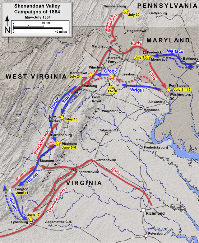 Theater of Operations, Summer of 1864. (Map created by Hal Jesperson.)